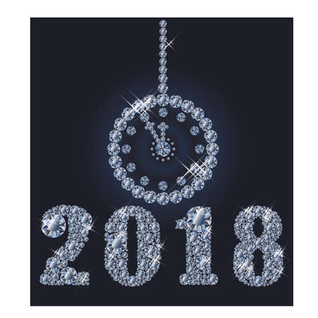 New 2018 year diamond clock background, vector illustration