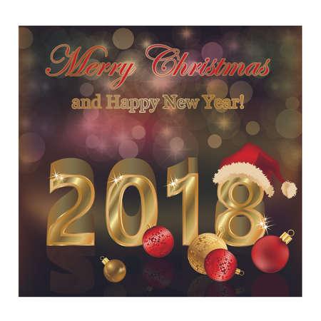 Happy New Year 2018 golden background, vector illustration