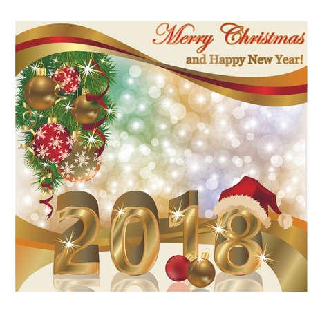 Gelukkig nieuw jaar 2018 behang, vectorillustratie Stock Illustratie