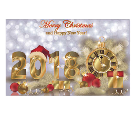 scrap gold: Merry Christmas and Happy new year 2018 wallpaper, vector illustration Illustration