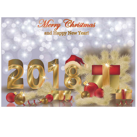 Merry Christmas and Happy new year 2018 golden background, vector illustration