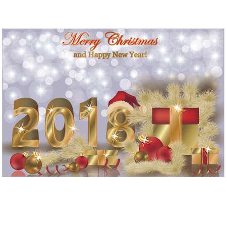 Vrolijke Kerstmis en Gelukkige nieuwe jaar 2018 gouden achtergrond, vectorillustratie Stock Illustratie