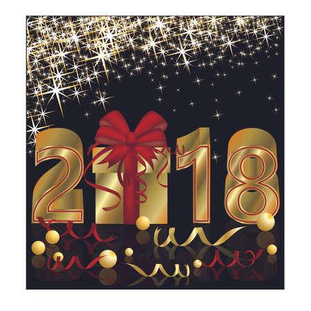 Gelukkig Nieuwjaar 2018 gouden kaart, vectorillustratie. Stockfoto - 88335537