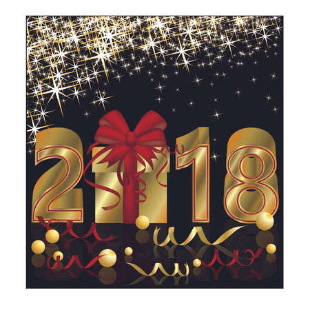 Happy New Year 2018 golden card, vector illustration.