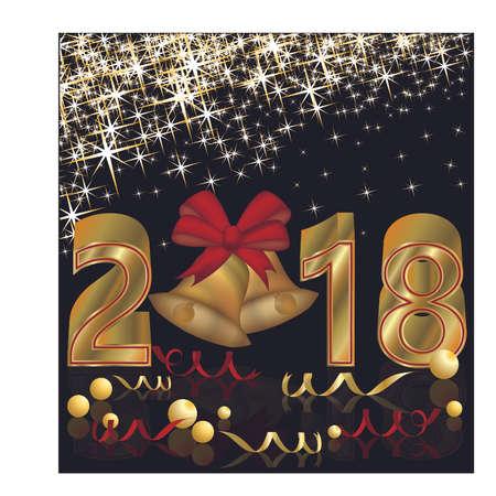 Gelukkig Nieuwjaar 2018 gouden behang