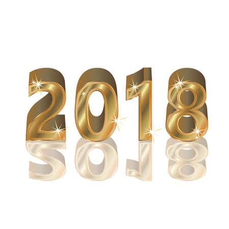 Gelukkig gouden nieuw 2018 jaar, vectorillustratie Stockfoto - 88598465