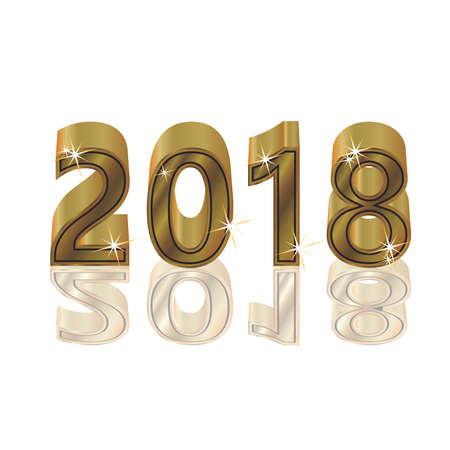 Gelukkig Gouden Nieuw 2018 jaar, geïsoleerde, vectorillustratie Stockfoto - 88618425