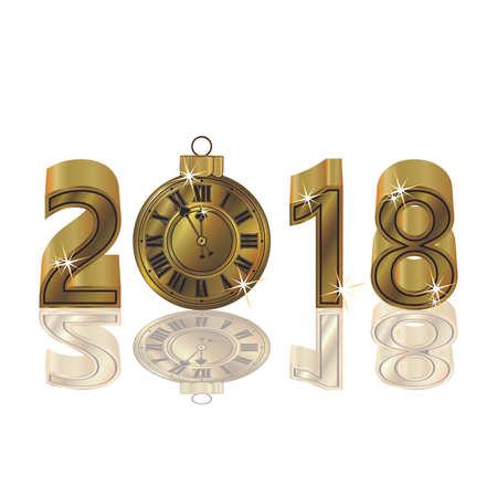 Gelukkig nieuw jaar 2018 met gouden klok, vectorillustratie