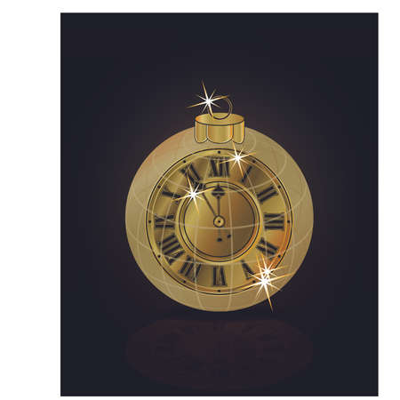 Merry Christmas & Happy New Year golden clock isolated, vector illustration