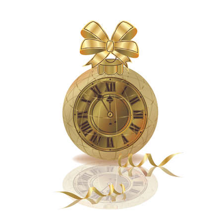 Merry Christmas & New year golden clock isolated, vector illustration