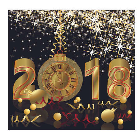 Happy New 2018 year with golden clock wallpaper, vector illustration