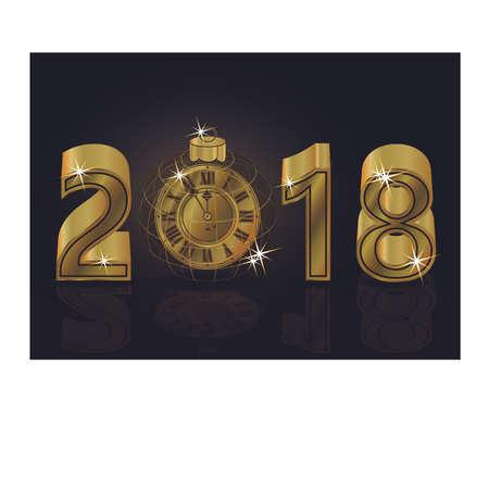 Gelukkig Nieuw jaar 2018 met gouden klokachtergrond, vectorillustratie Stockfoto - 88899077