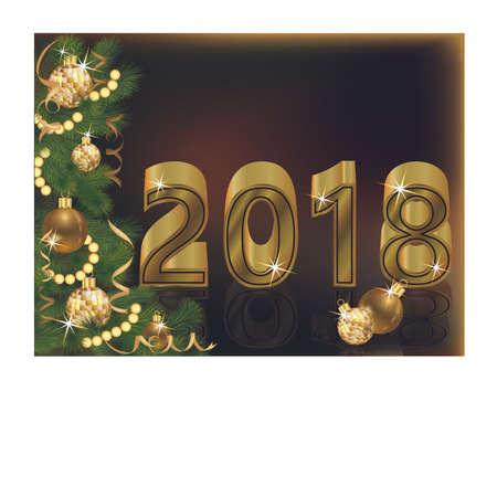 Vrolijke Kerstmis en Gelukkige Gouden Nieuwe het jaarachtergrond van 2018, vectorillustratie. Stock Illustratie