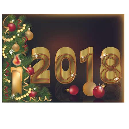 Vrolijk kerstfeest en een gelukkig nieuw kaartontwerp voor 2018-jarigen