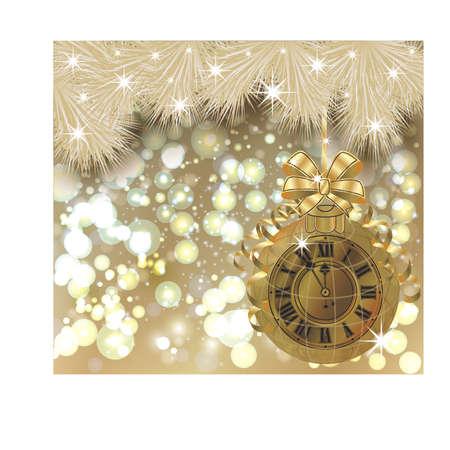Gelukkige Nieuwe jaarkaart met gouden klok, vectorillustratie