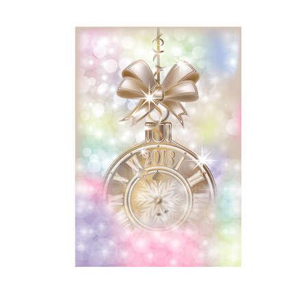 Vrolijke Kerstmis & Gelukkige 2018 Nieuwe jaar gouden kaart, vectorillustratie Stockfoto - 89826634