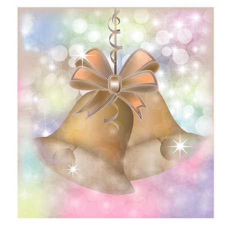 Merry Christmas golden card and golden bell, vector illustration