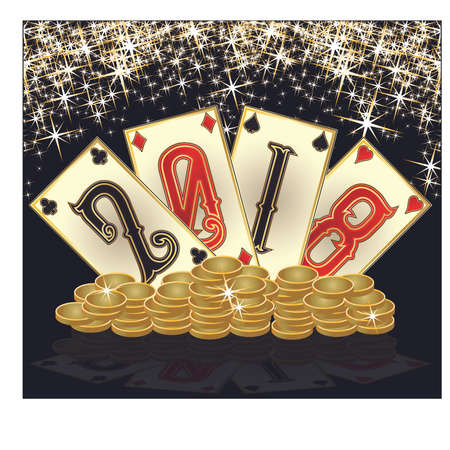Casino new 2018 year golden background, vector Illustration