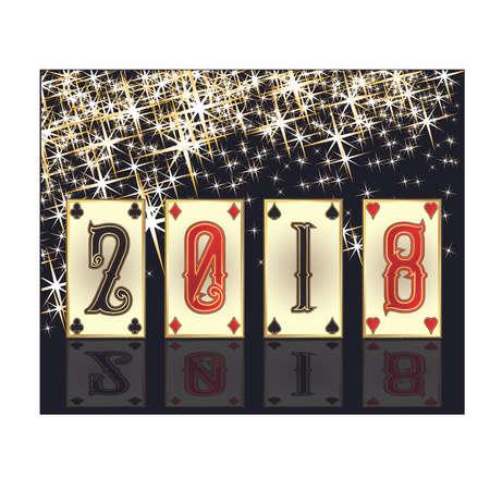 New 2018 poker year greeting card, vector illustration