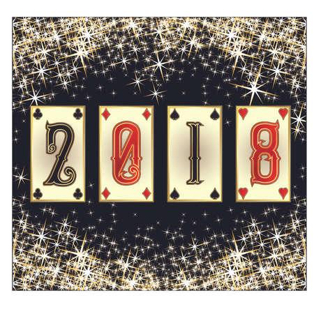 New 2018 poker year invitation card, vector illustration