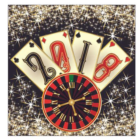 Happy new 2018 year casino invitation card, vector Illustration