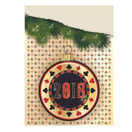 Poker new 2018 year chip background. vector illustration Illustration