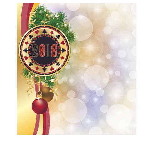 Poker chip, new 2018 year invitation card, vector illustration