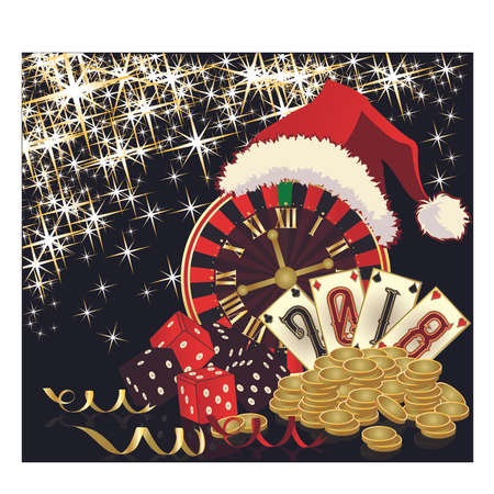 A clock with santa hat and coins in a glittering background. New 2018 year casino wallpaper, vector illustration