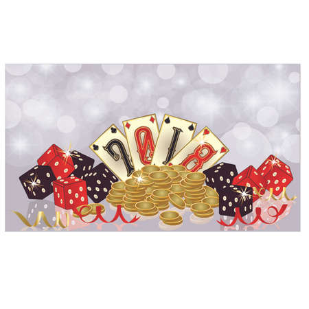 Dice and chips with numbers printed on a playing card in a glittering background. Casino New 2018 year invitation banner, vector