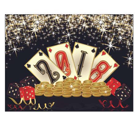 Casino New 2018 year banner, vector illustration Illustration