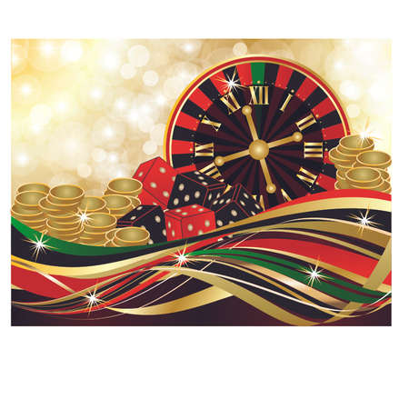 Casino merry Christmas background, vector illustration. Illustration