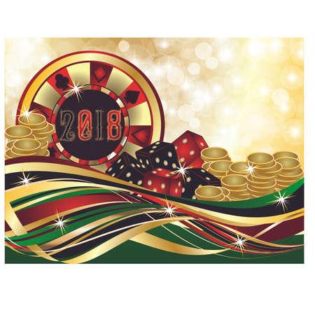 Casino Christmas 2018, vector illustration.