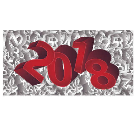 Happy New 2018 Year 3D background, vector illustration.