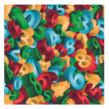 Seamless pattern numbers, 3D background, vector illustration. Illustration