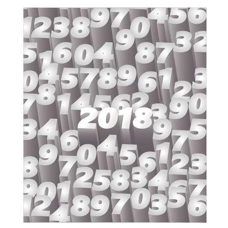 Happy new 2018 year 3D card, vector illustration 일러스트