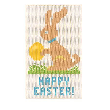 Happy Easter knitted bunny invitation card, vector illustration Illustration