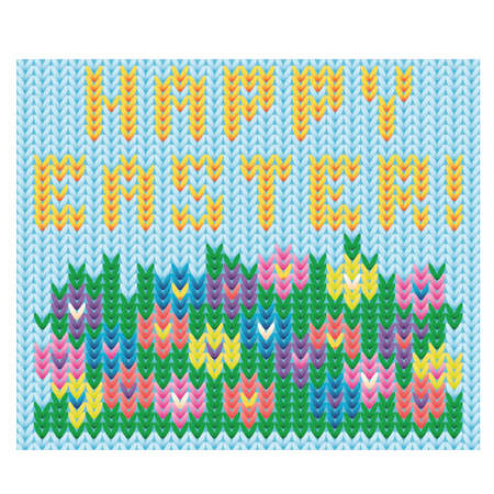 Happy Easter poster,  knitted style illustration. Illustration
