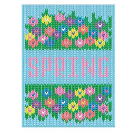 Spring time floral knitted card, vector illustration Illustration
