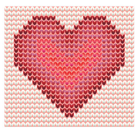 Knitted heart, valentines day card. Vector illustration