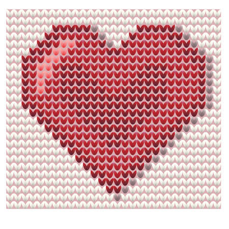 Happy valentines day, knitted heart, vector illustration