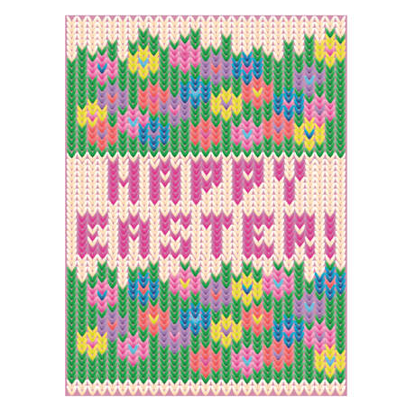 Happy Easter knitted wallpaper with flowers, vector illustration
