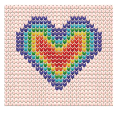 Knitted rainbow heart. Vector illustration