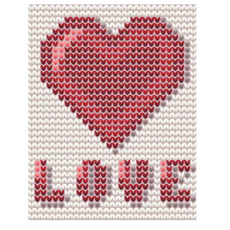 Happy Valentines day knitted card, vector illustration Illustration