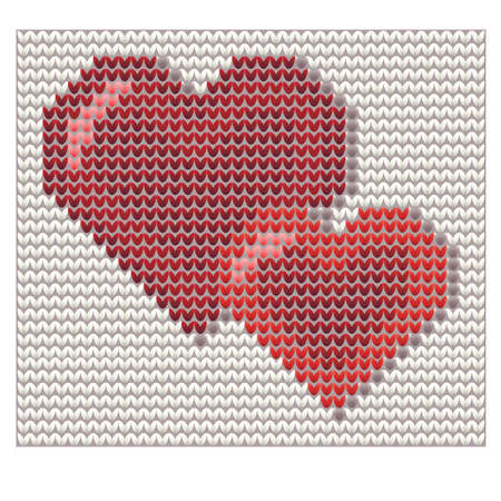 Two hearts knitted valentines card vector illustration.