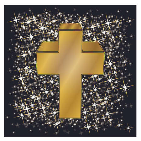 Happy Easter golden cross, vector illustration. 向量圖像