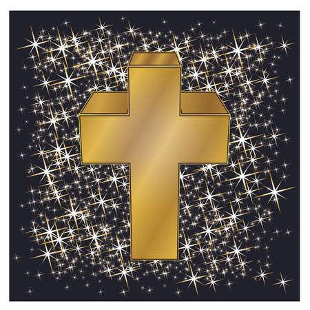 Happy Easter golden cross, vector illustration. 向量圖像