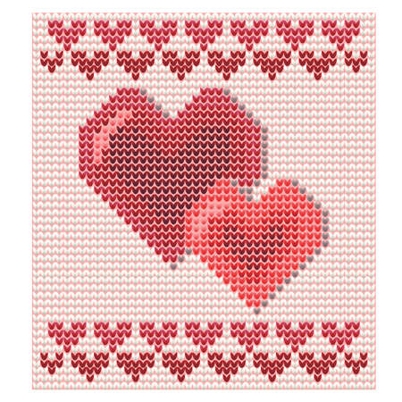 Happy Valentines Day background with knitted hearts, vector illustration Illustration