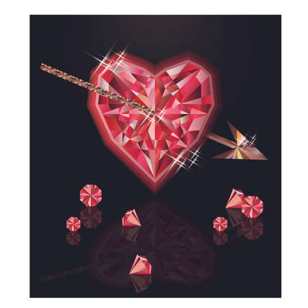 Ruby heart and arrow, happy valentines day, vector illustration Illustration