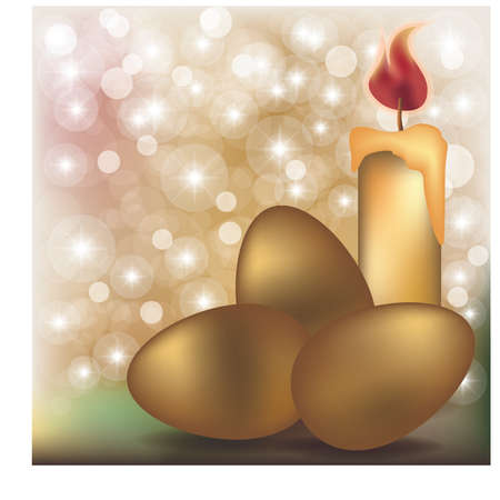 Easter wallpaper with candle and golden eggs, vector illustration Illustration