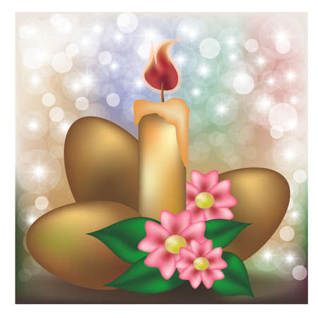 Easter background with golden eggs, flowers and candle vector illustration
